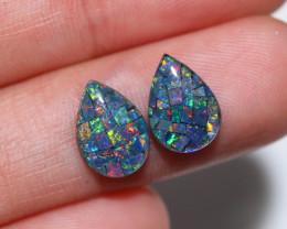 2.5 cts Pair Tear Drop  Shape  Opal Mosaic Triplets   CCC 1885