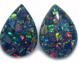 2.5 cts Pair Tear Drop  Shape  Opal Mosaic Triplets   CCC 1888