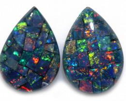 2.5 cts Pair Tear Drop  Shape  Opal Mosaic Triplets   CCC 1889