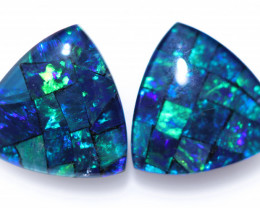 2.2 cts Pair Tri   Shape  Opal Mosaic Triplets   CCC 1896