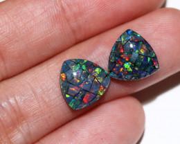 3.9 CTS   Pair Tri   Shape  Opal Mosaic Triplets   CCC 1914