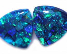 2.9 CTS   Pair Tri   Shape  Opal Mosaic Triplets   CCC 1921