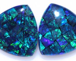 2.9 CTS   Pair Tri   Shape  Opal Mosaic Triplets   CCC 1923