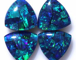 Two   Pairs Tri 9mm   Shape  Opal Mosaic Triplets   CCC 1928