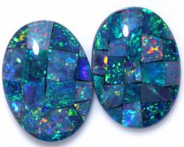 Two 18x13mm  Opal Mosaic Triplets   CCC 1940
