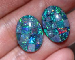 Two 18x13mm  Opal Mosaic Triplets   CCC 1942