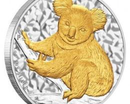 Australian Koala 2009 Gilded Edition 1oz  99.9% Pure Silver Coin