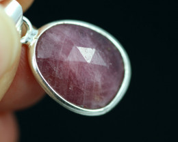 Faceted Ruby Sterling Silver pendant code CCC 2139