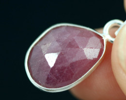 Faceted Ruby Sterling Silver pendant code CCC 2140