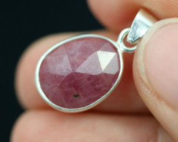 Faceted Ruby Sterling Silver pendant code CCC 2141
