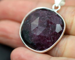 Faceted Ruby Sterling Silver pendant code CCC 2184
