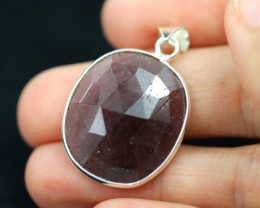 Faceted Ruby Sterling Silver pendant code CCC 2185