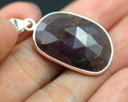 Faceted Ruby Sterling Silver pendant code CCC 2186