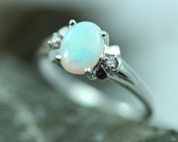 Opal Fire  Crystal set in Silver 925 Ring   Size L Code CCC2595