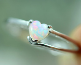 Lovers Heart Opal Fire Crystal set in Silver 925 Ring Size L Code CCC2618