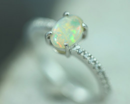 Opal Fire  Crystal set in Silver 925 Ring   Size N  Code CCC2635