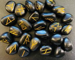 One set Natural 24 Black Onyx Rune set in carry bag code C-RUNEST
