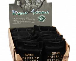 Six  sets Natural Black Onyx Rune set in carry bag code C-RUNEST