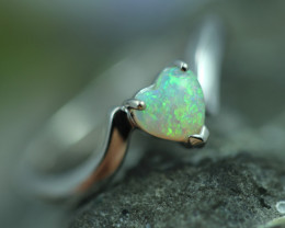 Lovers Heart Opal Fire Crystal set in Silver 925 Ring Size L Code CCC2673