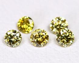 Yellowish Green Diamond 0.23Ct 2.3mm Natural Genuine Diamond Lot CCC 2322
