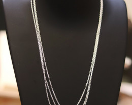 Three  45 cm Fine Curb Silver chain . CMT 217