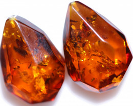 36 Cts Pair Faceted Natural  Amber Beads  from Poland  code CCC2923