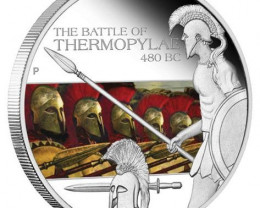 BATTLE OF THERMOPYLAE 480 BC  99.99% pure silver coin