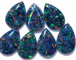 13 Cts Parcel Pear Drop Mosaic Triplets, Bright Opals  CCC 3203