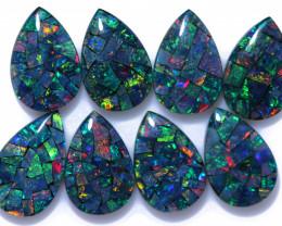 14 Cts Parcel Pear Drop Mosaic Triplets, Bright Opals  CCC 3205