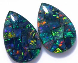 4 Cts Parcel Pear Drop Mosaic Triplets, Bright Opals  CCC 3208