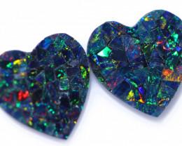 2.5 Cts Lovers Heart Australian Opal Doublet Mosaic  CCC 3219