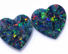 3.5 Cts Lovers Heart Australian Opal Doublet Mosaic  CCC 3223