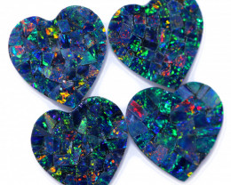 6.5 Cts Lovers Heart Australian Opal Doublet Mosaic  CCC 3228