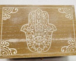 Hamsa white wash 6 draw Box with draw code C-BOXHAMWW