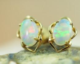 Cute Crystal  Opal set in 14k Yellow Gold Earring CK 507