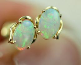 Cute Crystal  Opal set in 14k Yellow Gold Earring CK 515