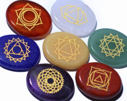 7 oval Natural Chakra Healing stones in pouch AHA 356