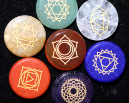2 x 7 Round Natural Chakra Healing stones in pouch AHA 362