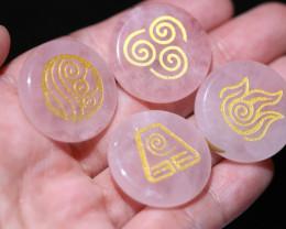 4 Rose Quartz Reiki  Healing stones in pouch AHA 364