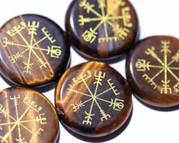 5 Tiger Eye Reiki Healing stones in pouch AHA 369