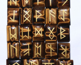24 Tiger Eye Rune Stones in pouch AHA 371