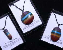 THREE Chakra 7 natural Gemstone Pendants Gift boxed code CHAKPEN-1