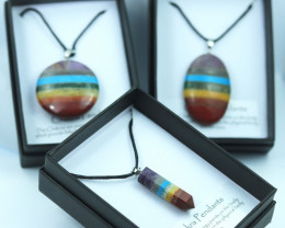 THREE Chakra 7 natural Gemstone Pendants Gift boxed code CHAKPEN-2
