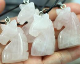 Four Horse head  Rose Quartz Gemstones AHA 441