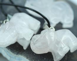 THREE  Elephant   Rose Quartz Gemstones AHA 530