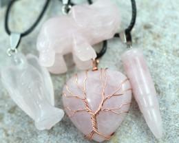 Four Mixed Lovers   Rose Quartz Gemstones AHA 445