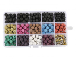 8 mm volcanic Lava Beads DIY Set     code AHA 466