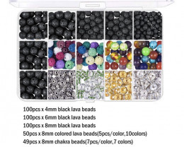 8mm  Lava   Beads and Wires   DIY Set     code AHA 478