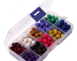 8mm  Colourful  Lava   Beads and Wires   DIY Set     code AHA 481