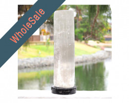 4x Selenite Lamp with Ancient Fossil Orthoceras Base 40cm - Wholesale